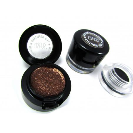 USHAS BROKATOWY CIEŃ brąz brązowy+ eyeliner w żelu