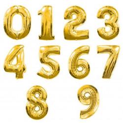 Balon foliowy CYFRA 1 , 2 , 3 , 4 , 5 , 6 , 7 , 8, 9 , 0  złota liczba urodziny 41CM