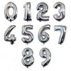 Balon foliowy CYFRA 1 , 2 , 3 , 4 , 5 , 6 , 7 , 8, 9 , 0  srebrna liczba urodziny 41CM