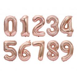 Balon foliowy CYFRA 1 , 2 , 3 , 4 , 5 , 6 , 7 , 8, 9 , 0  szampański róż rose gold liczba urodziny 41CM
