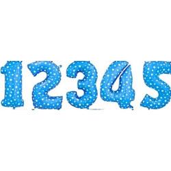 Balon foliowy CYFRA 1 , 2 , 3 , 4 , 5  niebieska w gwiazdki  liczba urodziny 41CM