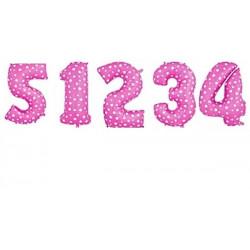 Balon foliowy CYFRA 1 , 2 , 3 , 4 , 5  róż w serca  liczba urodziny 41CM